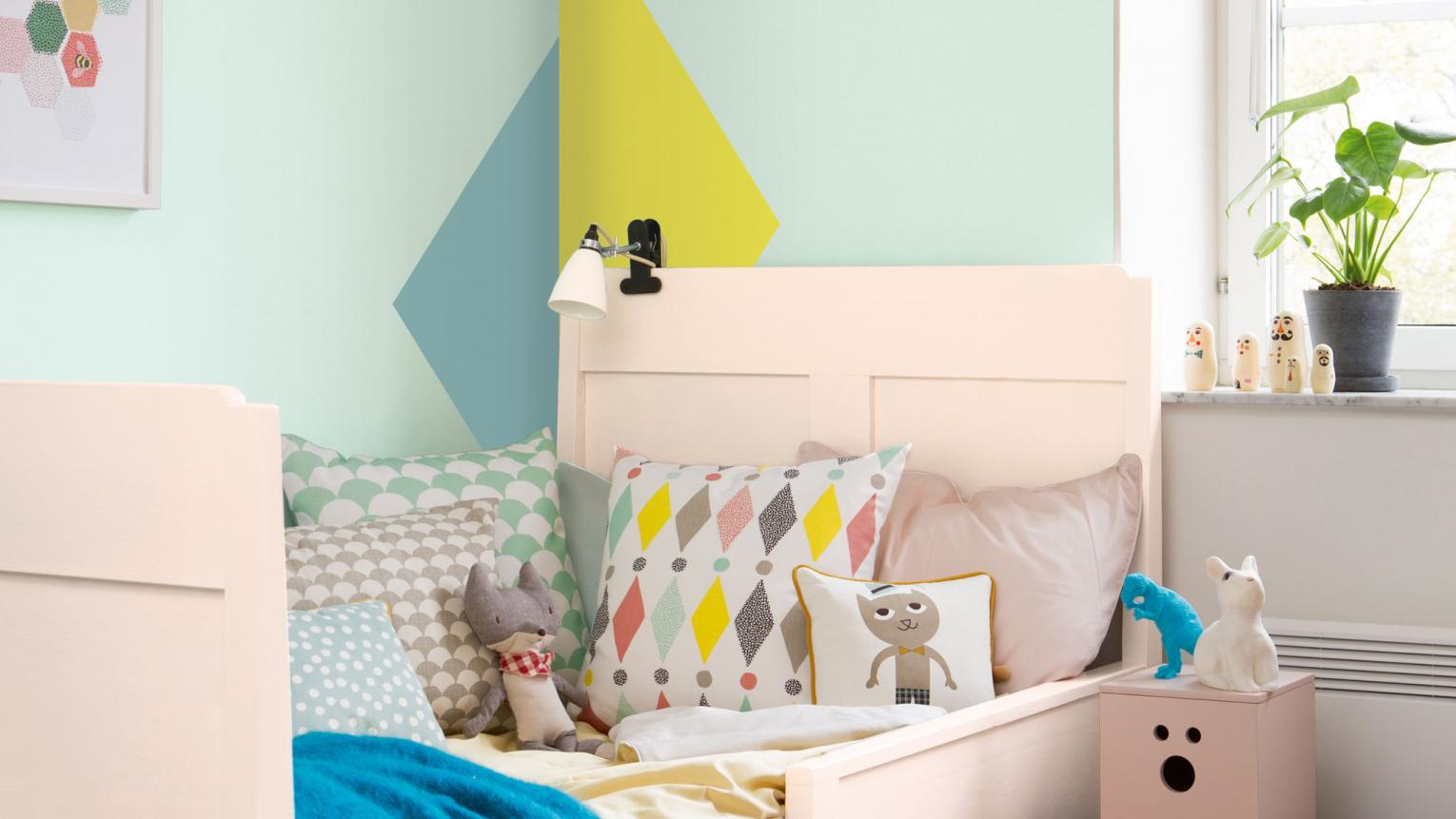 Paint geometric shapes to brighten up the corners of your child's room
