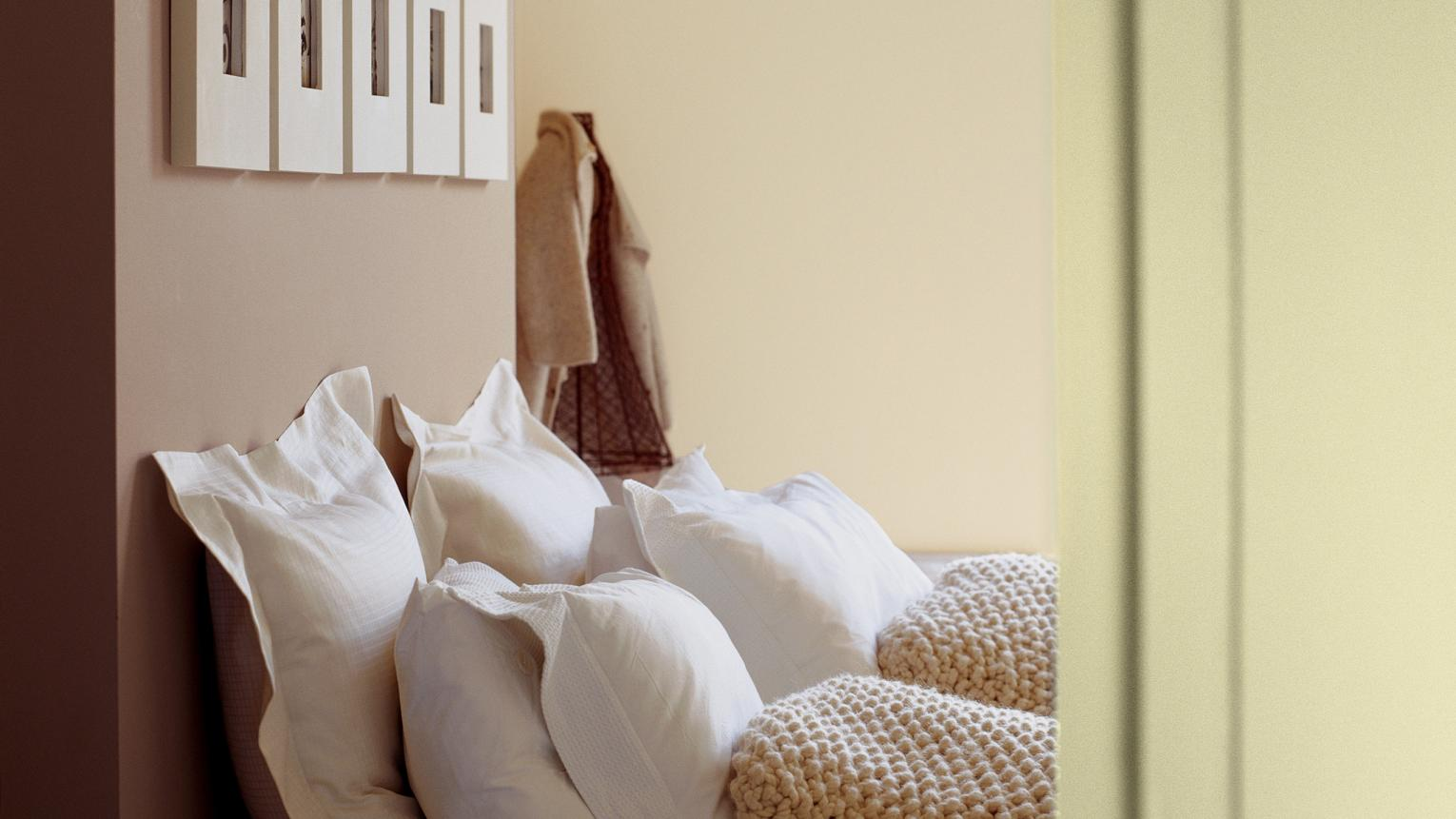 Mix gentle shades of cream and latte to create a restful vibe.