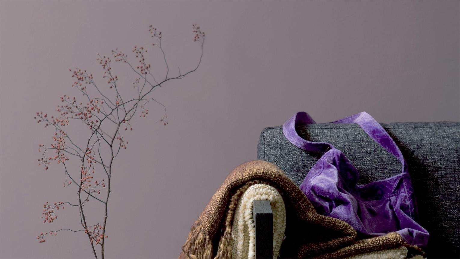 Combine soft purple with cool neutrals for cosy elegance.