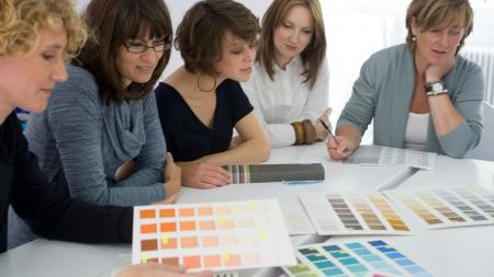 Dedicated team of colour forecasters deliberating over the 'Colour of the Year'.