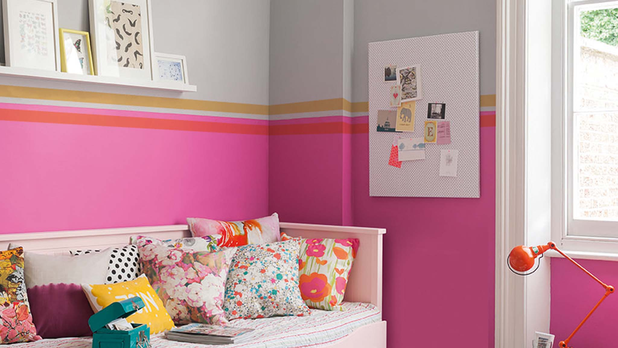 Paint a stripe in the corner of your kid's bedroom to create a reading nook