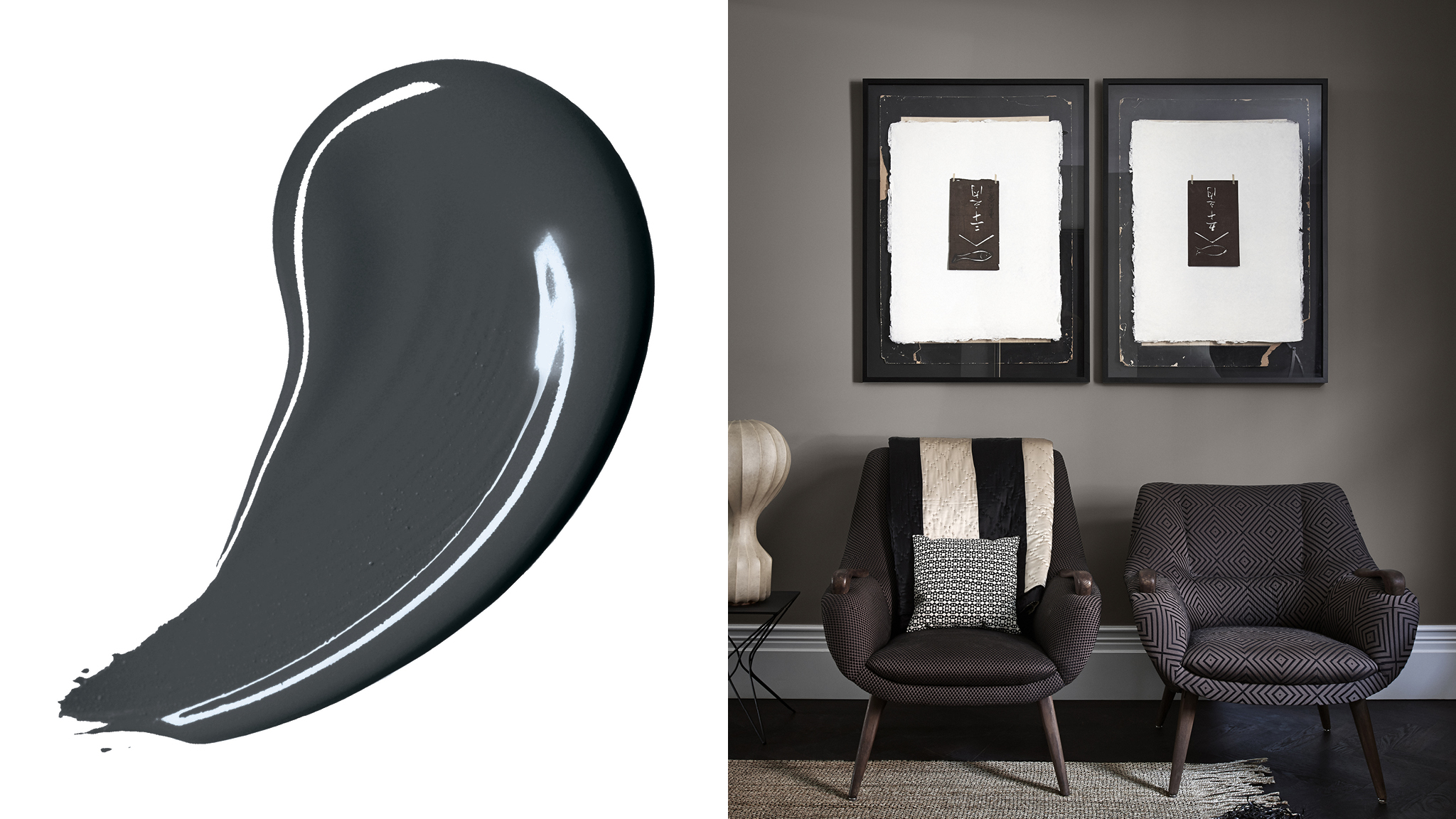 A dark, bold colour scheme will immediately add drama and flair to your new home. Deep charcoal grey is a versatile choice that will go with just about anything.