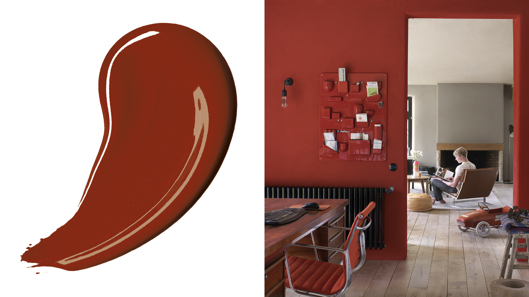 Choosing a darker colour scheme is a great way to make a room feel instantly more cosy and intimate. Rich, deep reds or chocolaty shades tend to pull walls closer towards you.