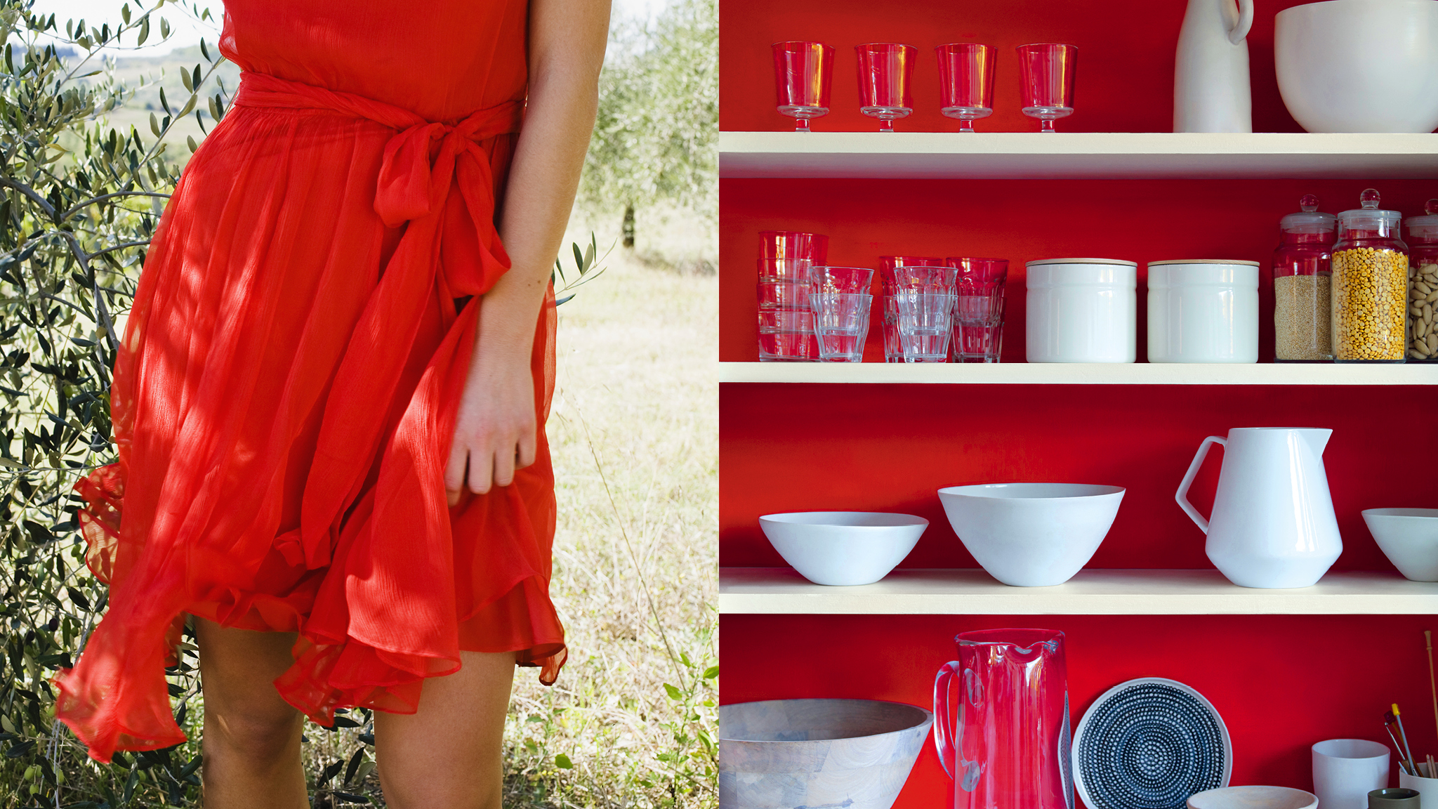 Your little red dress or favourite blue shirt could be the key to your decorating scheme as well as your outfit.