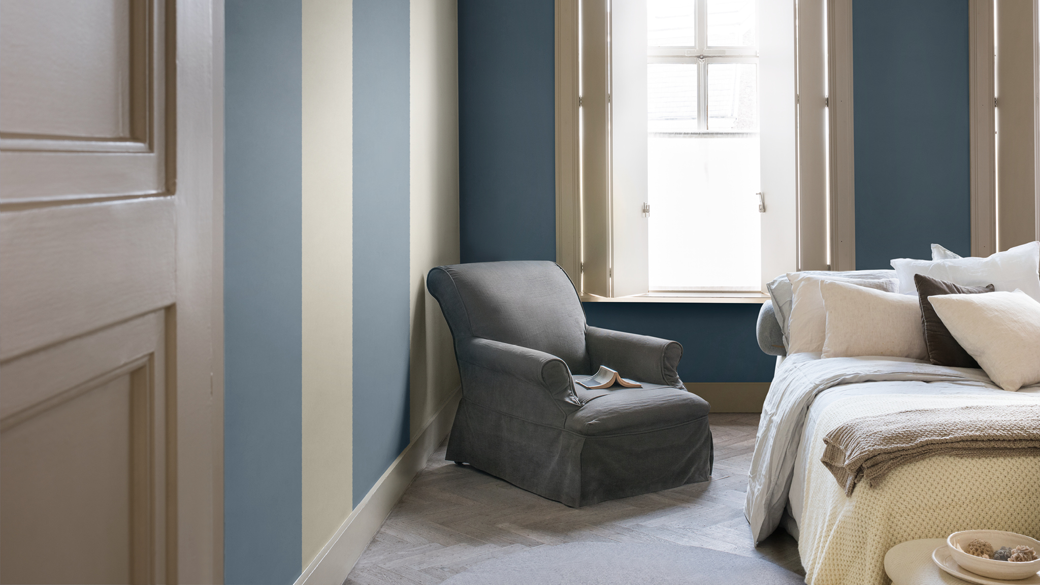 Blue is the colour of everyday and gives a restful, natural feeling to a bedroom.