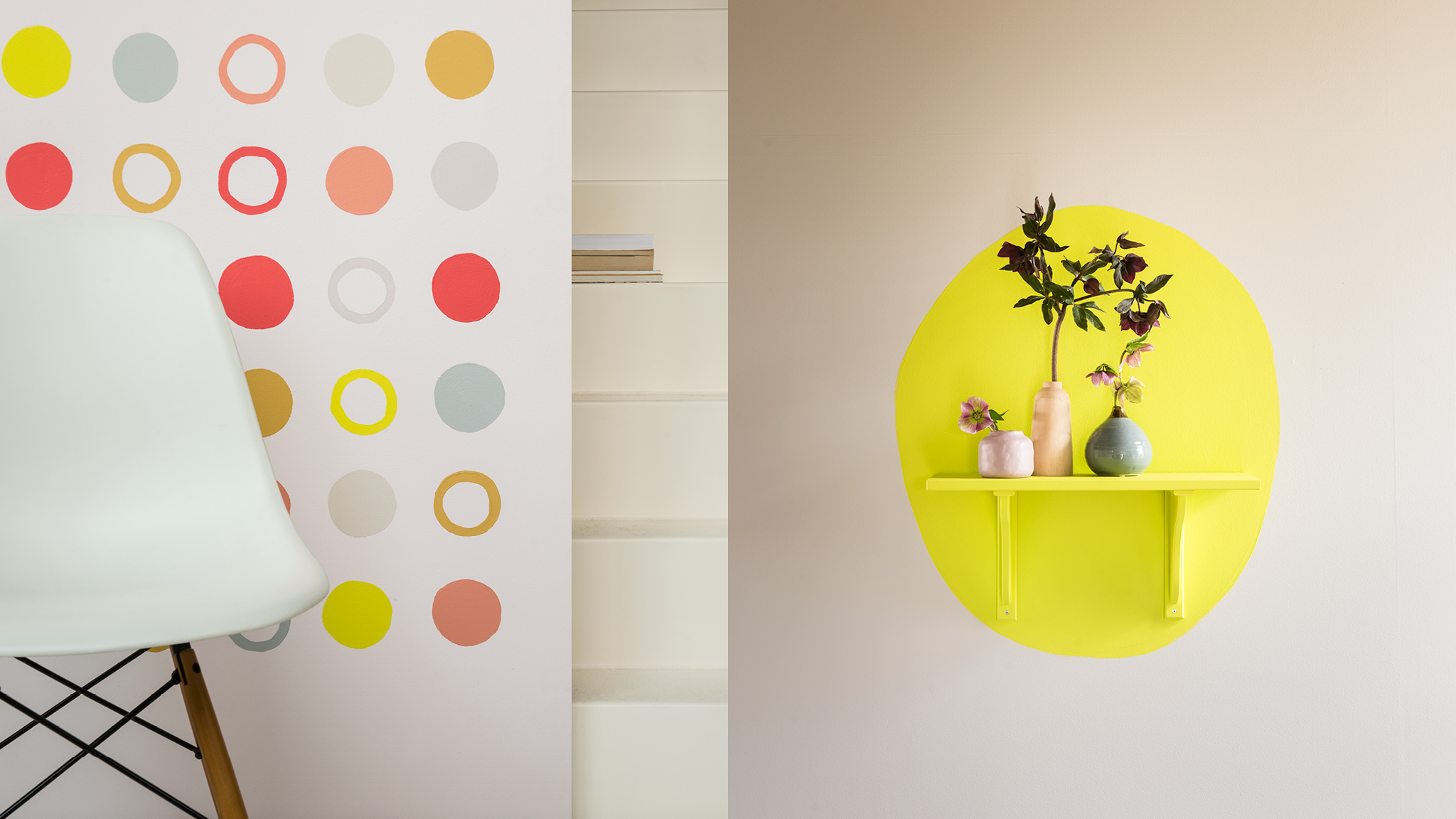 Circles of paint in different colours make a great feature on a wall.