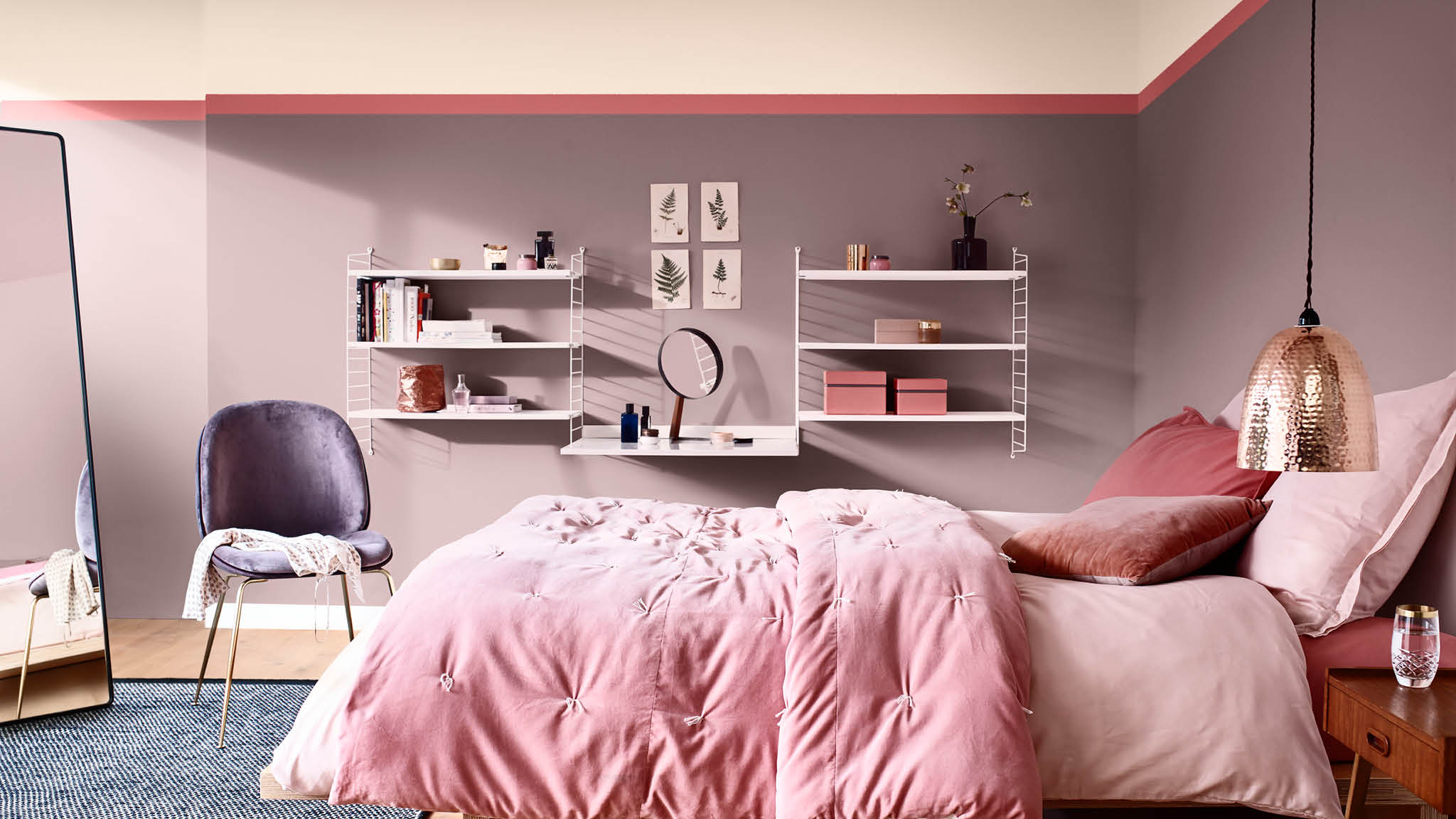 Create a cosy bedroom by pairing Heart Wood with softer pink