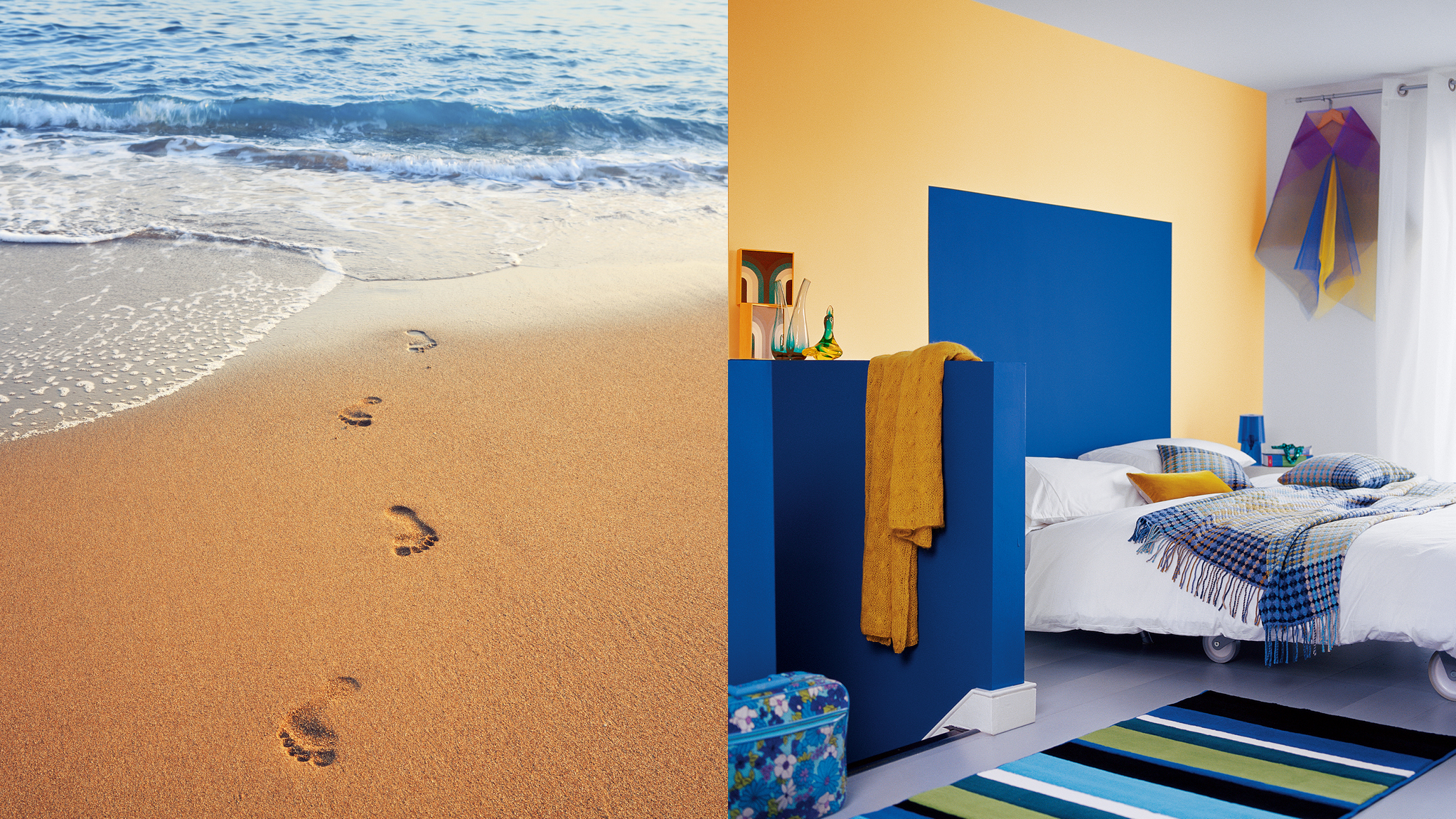 Bring that holiday feeling home with you by painting your walls in cheerful beach-inspired colours.