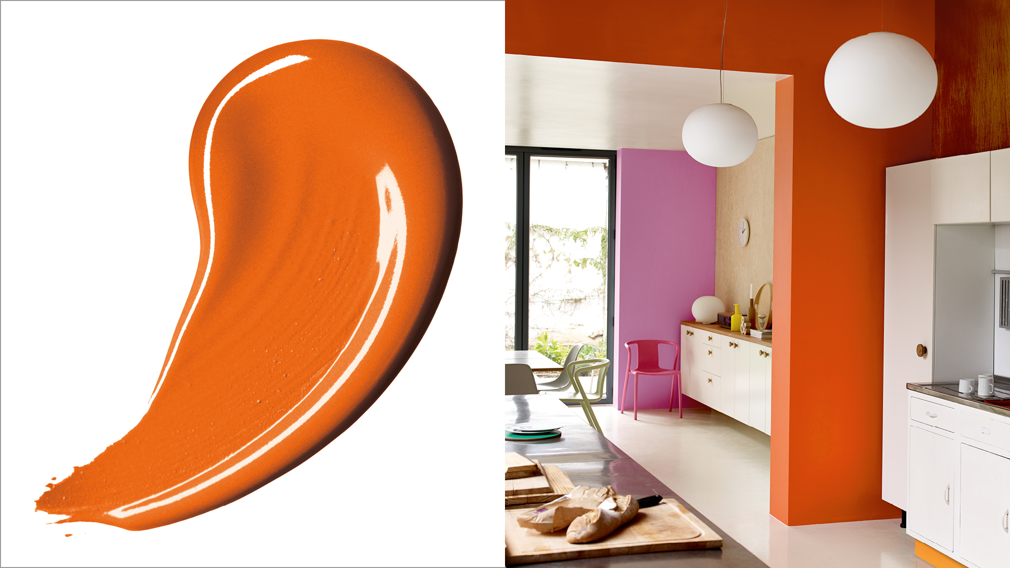 Orange fizzes with vitality. Paint it on your walls and you'll instantly create the sense that this is a happy, lively home.
