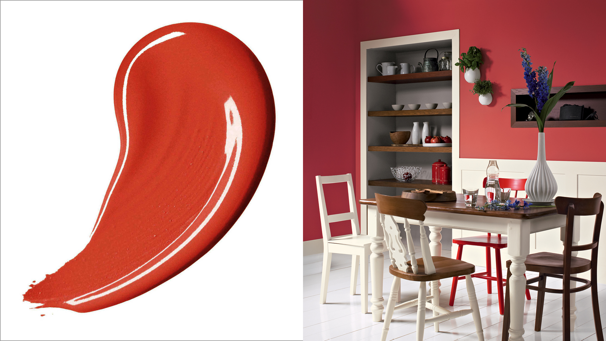 Red is the most energising colour on the spectrum and can lend a space a warm and welcoming feel
