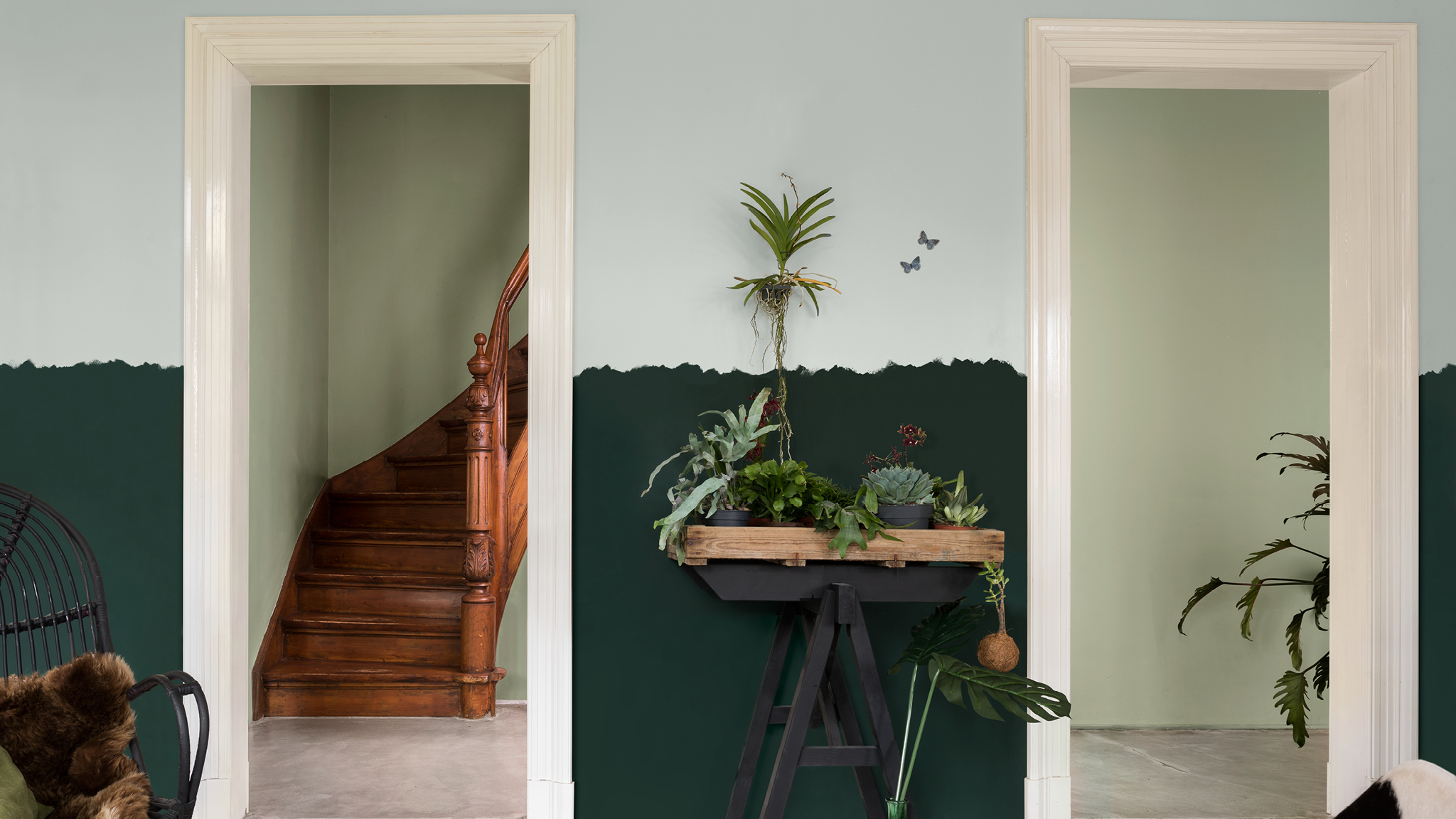 Take a relaxed attitude to paint avoiding hard lines for a more organic look.