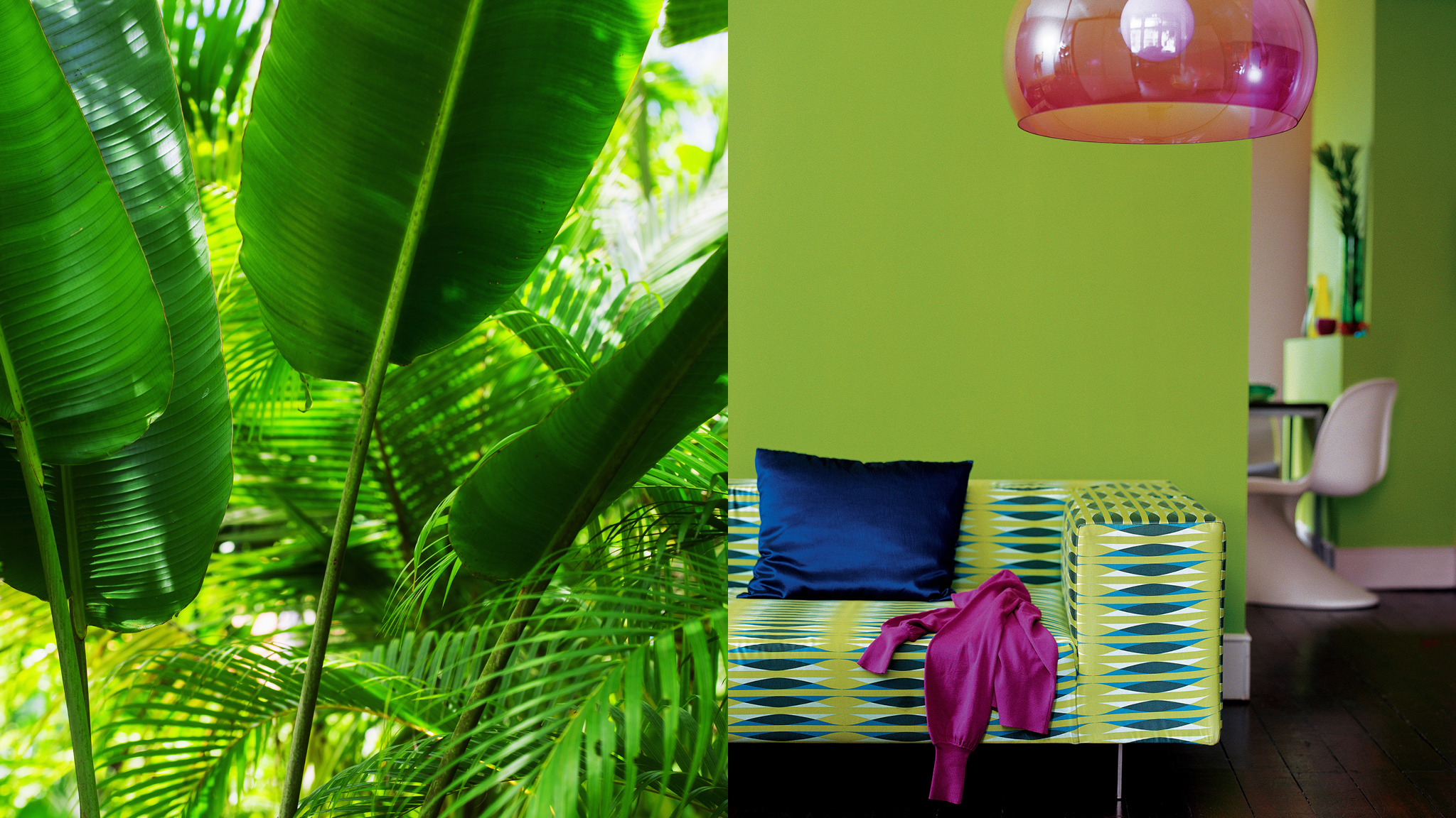 Inject energy into a space with tropical greens broken up with bright splashes of accent colour.