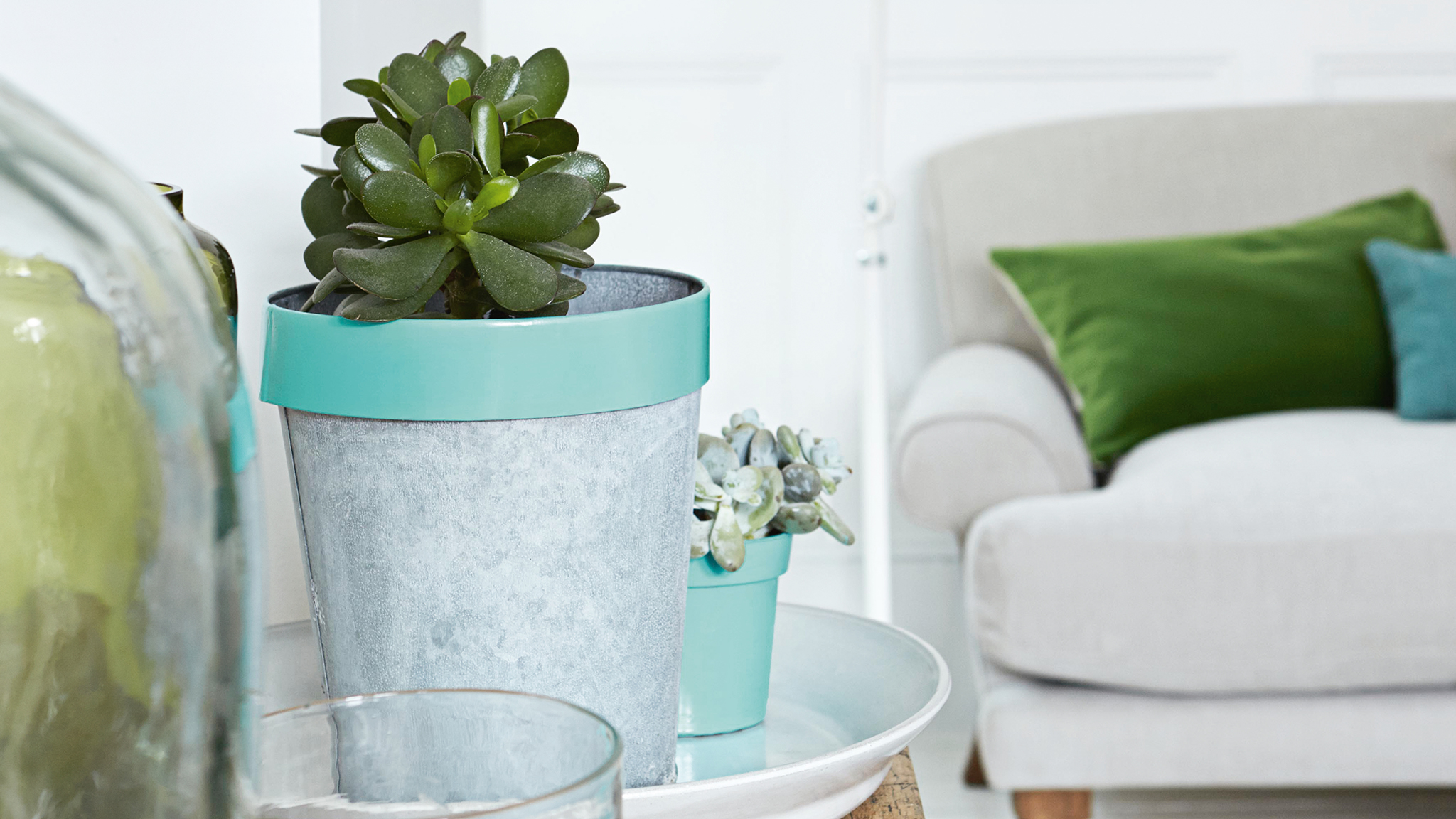 Take ordinary plant pots and vases and give them a lick of paint to make them stand out.