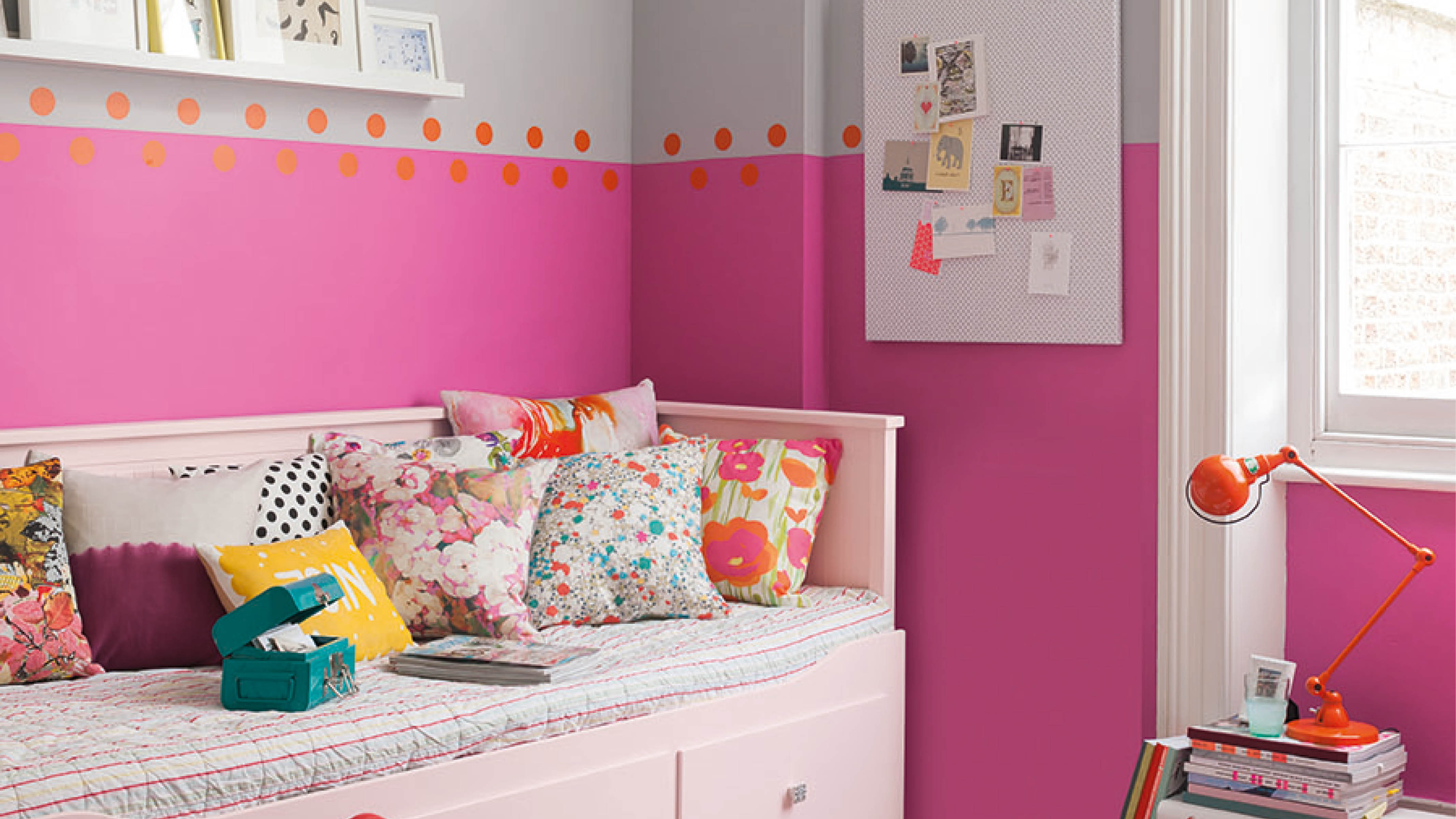 Balancing a bold hue, such as neon pink with a more subdued colour, such as grey, is a great way to play around with colour without overwhelming your nursery scheme.